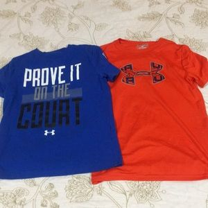 Lot of 2 Boys youth medium under armour shirts